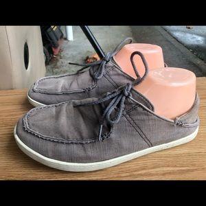OluKai Men,s Nohea Moku Gray Canvas Slip On Shoes
